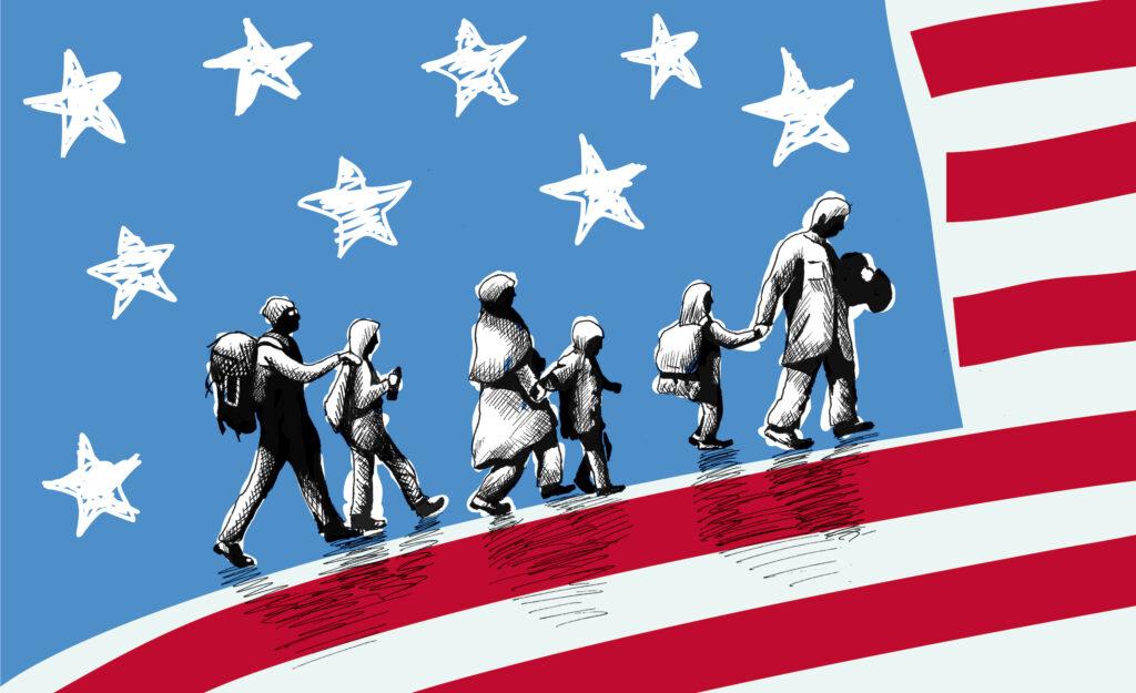 Illustration of USA immigration.